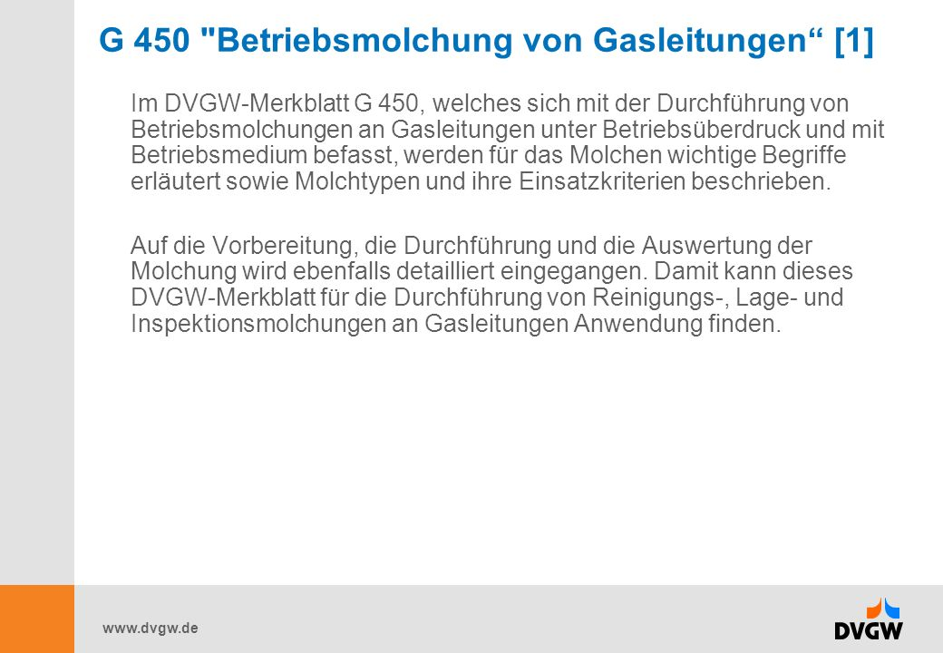 G 450 Betriebsmolchung von Gasleitungen [1]